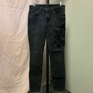 Zara collection black floral embellished jeans.